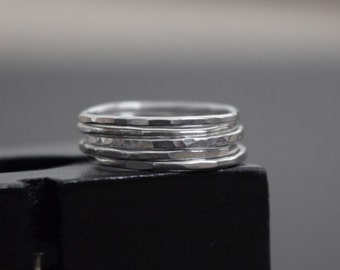 Sterling Silver Stackable rings , Hammered Wire Ring , Textured Stackable rings , Sterling Silver ring set , Minimalist ring