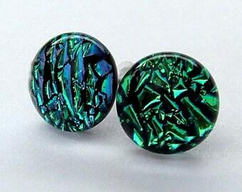 Dichroic Glass and 925 Sterling Silvee Stud earrings ~ Emerald Isle