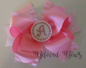Layered Monogrammed Hair Bow, Personalized Hair Bow, Stacked Hair Bow, Birthday Bow, Initial Hair Bow, Toddler Bow, Baby Bow
