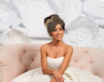 Gold metallic birdcage veil,  gold veil, bridal veil - ready to ship -  FREE SHIPPING*