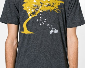 Mens birds bicycle and tree american apparel heather black t shirt gray- available in s,m, l, xl, xxl-WorldWide shipping
