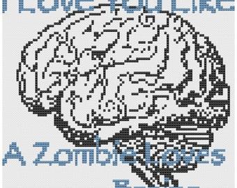 cross stitch pattern Zombies love brains pdf