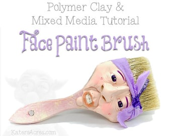 Polymer Clay Sculpted Paint Brush Tutorial - Learn How to Sculpt a Face on an Repurposed Paint Brush