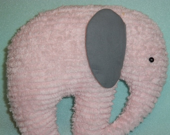 Chenille Elephant, Stuffed Pink with Grey ears