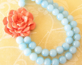 Statement Necklace Coral Jewelry Aqua Necklace Flower Necklace Beaded Necklace