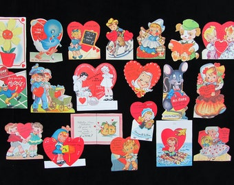 1940s Valentine Card Lot of 20 cards - police nurse cowboy kids animals