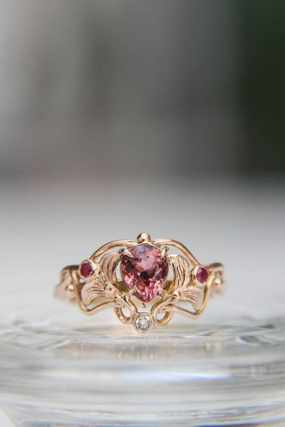 Vintage inspired art nouveau engagement ring with pink tourmaline, rubies and diamond, romantic rose gold proposal ring, unique art deco