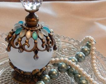 Perfume Bottle, Boudoir Decor, Flacon, Turquoise