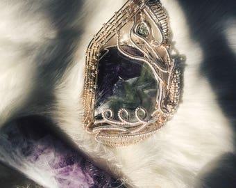Flourite & Pyrite wire wrap pendant