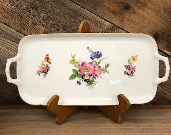 German Floral Handled Tray