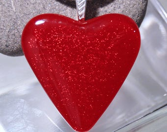 Fused Dichroic Glass Pendant...LARGE RED HEART...Dichroic Heart Pendant