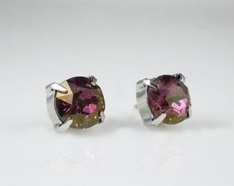Lilac Shadow Rhinestone Stud Earrings Swarovski Lavender Pink Wedding Jewelry Flower Girl Earrings Bridesmaid Earrings