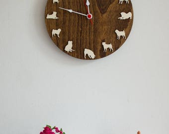Pug portrait wood Clock Animal wall clock gift for dog pug lovers pug home decor Unique gift to Christmas