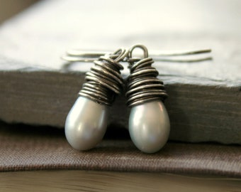Droplet--Silver gray freshwater pearl earrings wire wrapped sterling silver pearl drop Wedding Bridal