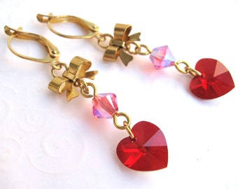 Red Heart Earrings, Red Heart and Bow Earrings, Ruby Red July Birthstone Jewelry, Dangling Bow,and Heart, Red Heart Jewelry