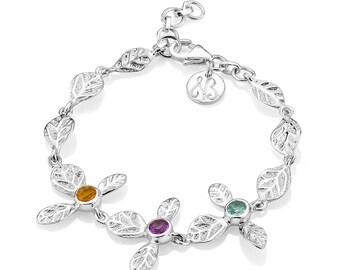 Sterling silver, multi semi precious gems, link bracelet