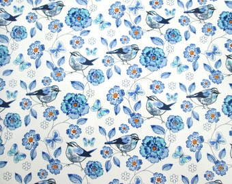 Blue birds butterflies flowers glass fusing decal, floral waterslide transfer, fused glass ceramics, craft supplies, kiln craft, fusible art
