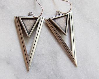 Silver Triangle Earrings, Art Deco Earrings, Double Triangle, Pyramid Earrings, Geometric Earrings, Trending Style, Modern Earrings