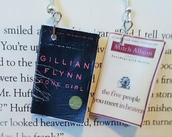 Book Earrings - Gone Girl and The Five People You Meet in Heaven