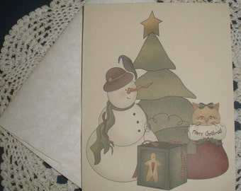 Prim Snowman Tree Stocking and Kitty Cat Note Cards ~ N16