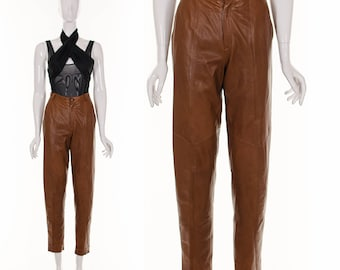 High Waist Leather Pants Soft and Supple Cognac Brown Leather Pants Small Waist 27