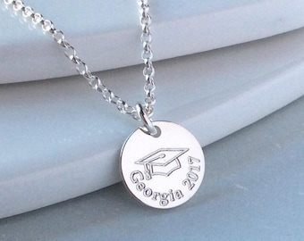 Personalised graduation gift, sterling silver, engraved necklace, college graduation, personalized jewelry, college student gift, 12mm