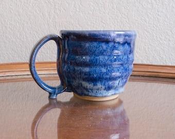 Textured Blue Ceramic Mug