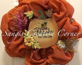 Orange Fall Wreath; Burlap Wreath; Autumn Wreath; Fall Decor; Front Door decor; Fall Wreath; Thanksgiving wreath; Wreath; Wreaths