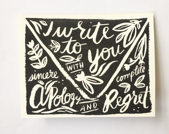greeting card - apology - regret - lettering