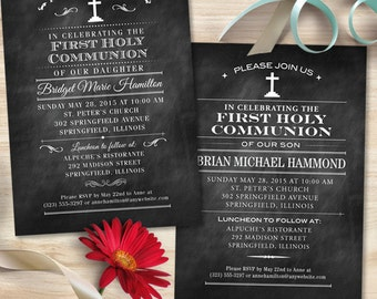 Chalkboard First Holy Communion Invitation; Printable, Evite or Printed (US Only) Invitations