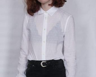 Sheer Polka Dot GAP Button Up