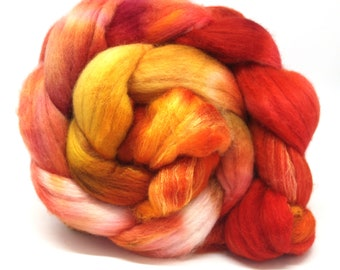 Hand Dyed Fine Merino Wool & Silk Combed Top 100gms - MS5