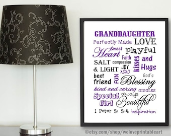 Granddaughter Gift Idea, Gift for Granddaughter, Christian Gift, Christian Print, Purple and Gray, Granddaughter Quote Print, Art Print