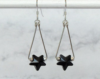 Jet Black Crystal Star Triangle Earrings, Sterling Silver Wire, Swarovski