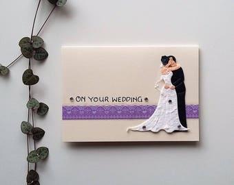 Bride / Groom Card - Wedding card, Congratulations card, Love card, A6 blank card, on your wedding, Marriage card