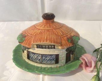 Unusual Vintage Beswick Cottage Ware House Shaped Lidded Dish