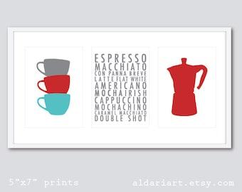 Coffee Prints - Coffee Wall Art - Kitchen Wall Art - Kitchen Art Prints - Teacups Print - Coffee Maker Print - Coffee Print - Kitchen Decor