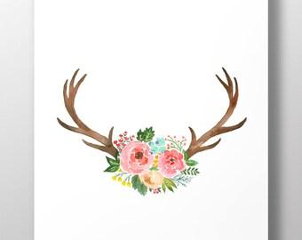 Watercolor Floral Antlers Wall Art | Floral Antlers Print | Deer | Hunt | For Him | Printable Art | Illustration | Art Printable | Download