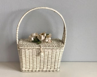 Vintage 40s Wicker Handbag / 1940s Ritter White Woven Basket Purse Bag with Flowers