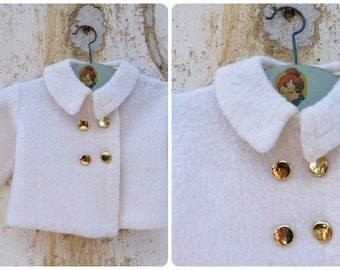 Vintage 1960/60s French white wool baby coat /layette/ double breast golden buttons size 3/6 month