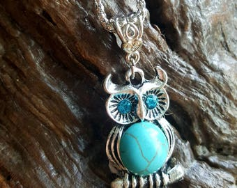 Turquoise silver owl pendant necklace