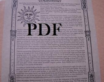 Summer Solstice MIDSUMMER  PDF -- Book of Shadows -- BOS page