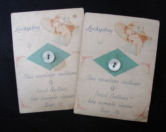 2 Vintage Packages of Lucky Day Pearl Buttons Size 16