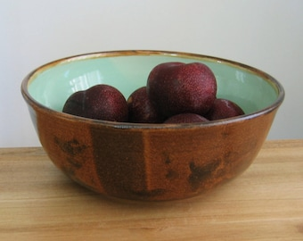 Pottery Bowl, Large Mint Green and Cocoa Brown Ceramic Fruit Bowl, Handmade Stoneware Salad Bowl, Foodie Gift, Chef Gift