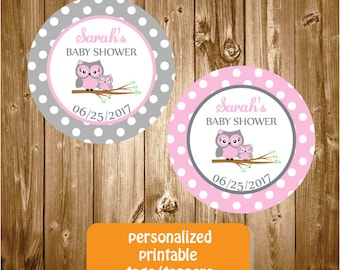 Personalized Pink Owl Baby Shower Stickers,Pesonalized Owl Tags,Printable Owl Baby Shower Tag, Owl Stickers, Owl Favor Tags, Owl Baby Shower