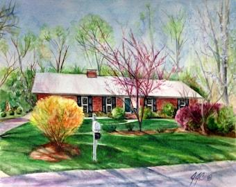 CUSTOM Watercolor Home Portrait - an original watercolor painting by Jodi J. Callahan