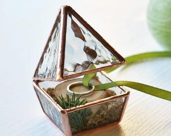 MINI Proposal ring box Geometric ring box Ring bearer box Engagement ring box Copper ring box Glass ring pillow Wedding ring box Jewelry box