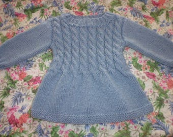 blue hand knitted baby dress size 1 year