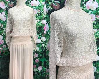80s Pale Pink Iridescent Lace Silk Gathered Dress