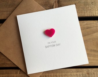 On Your Baptism Day with Pink detachable Heart magnet keepsake